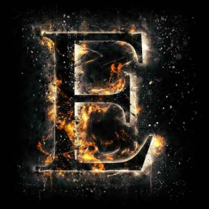 litera e - ogień
