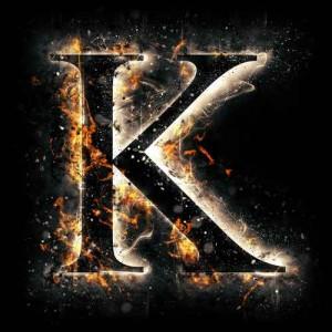 litera k- ogień