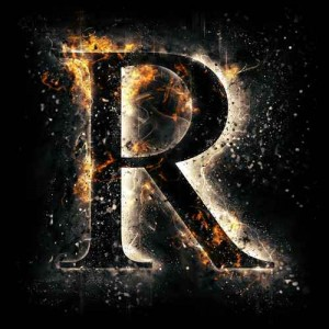 litera r - ogień
