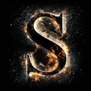 litera s - ogień