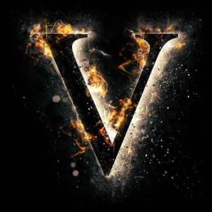 litera v - ogień